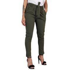 BornToGirl Casual Slim chifón pantalones delgados para mujer alta cintura negro caqui pantalones verdes